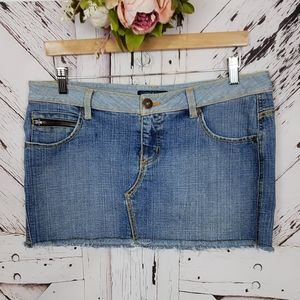Anchor Blue Distressed Jean Skirt sz 13
